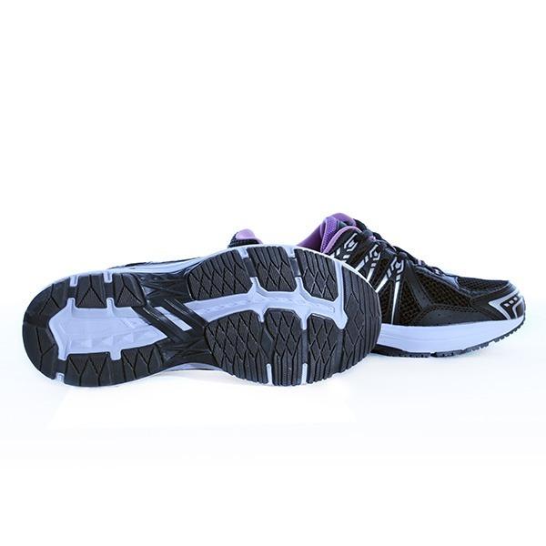 کفش مشکی بنفش تن زیب از نمای جان با بک سفید